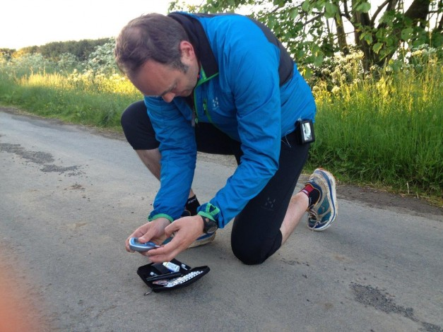 Checking blood sugars - Photo Claire Maxted Trail Running
